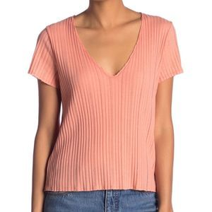 PST v neck raw hem textured knit top small NWOT
